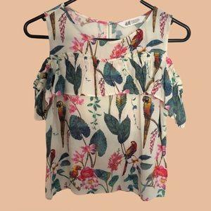 H&M jungle floral off the shoulder top
